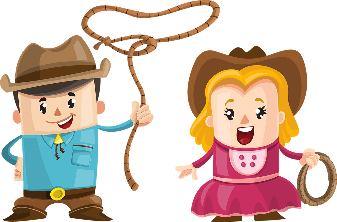 Cartoon Cowboy and Cowgirl with lasso ropes